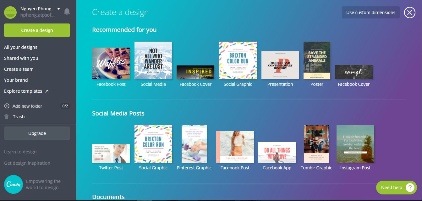 Hướng dẫn thiết kế ảnh avatar, ảnh bìa, ảnh bán hàng miễn phí cực đẹp bằng Canva - image canva-1 on https://atpsoftware.vn