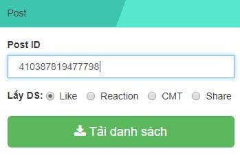Nhấn tải về để lấy UID người like-cmt-share bài viết