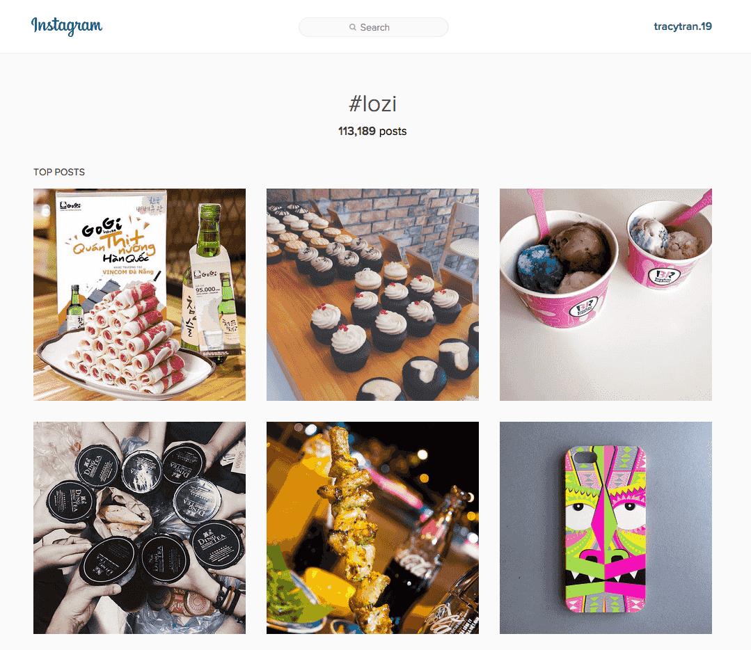 #lozi là hashtag phố biến khi bán hàng trên instagram mặt hàng đồ ăn