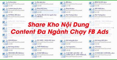 Chia sẻ Kho nội dung content đa ngành chạy facebook ads cho anh em bí ý tưởng quảng cáo