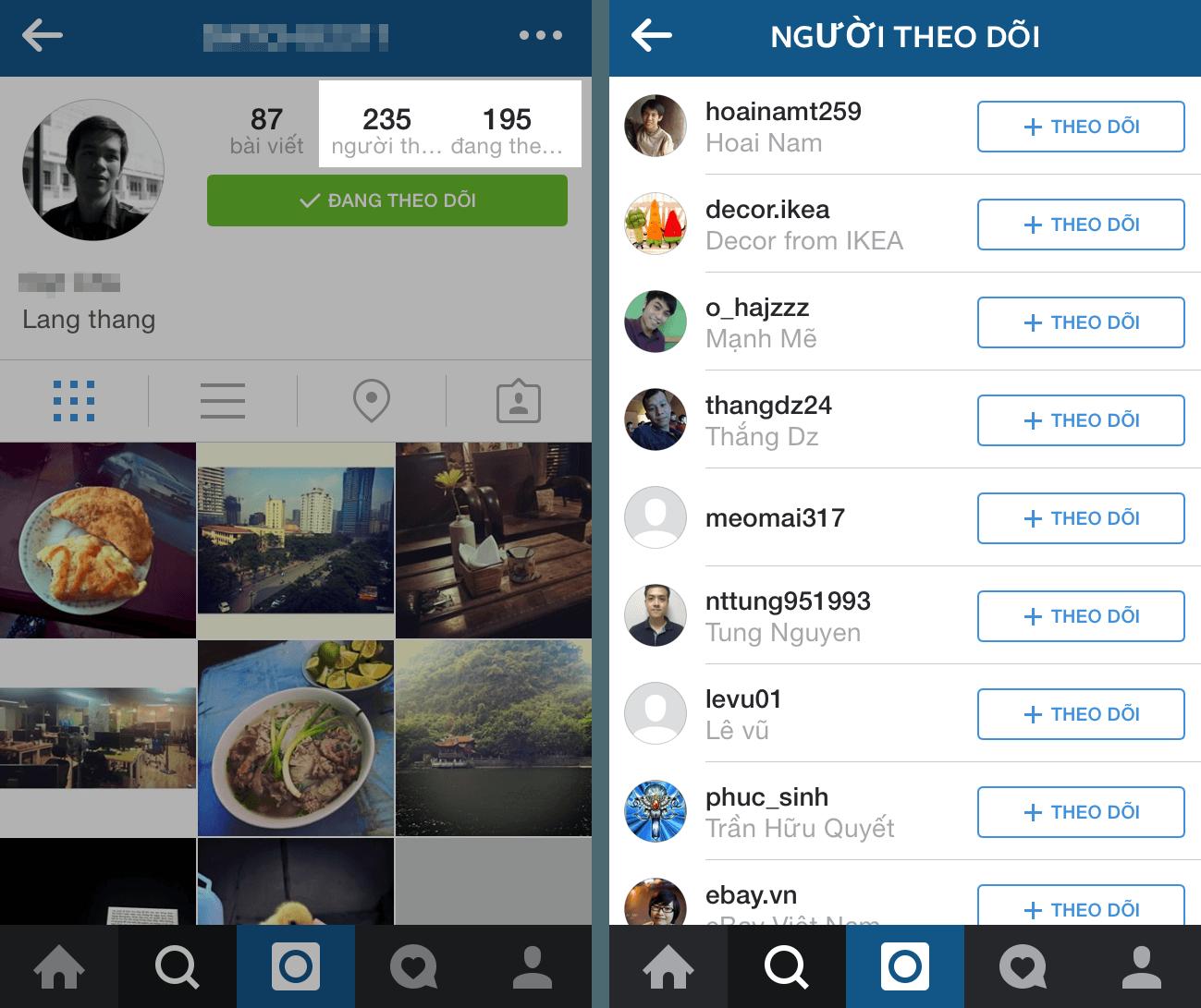 Bước 3 tiếp cận khách hàng trên instagram là những người đang theo dõi bạn