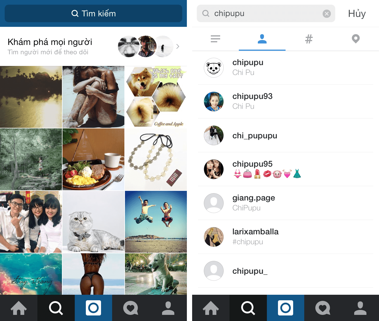 Tiếp cận khách hàng trên instagram qua nút tìm kiếm