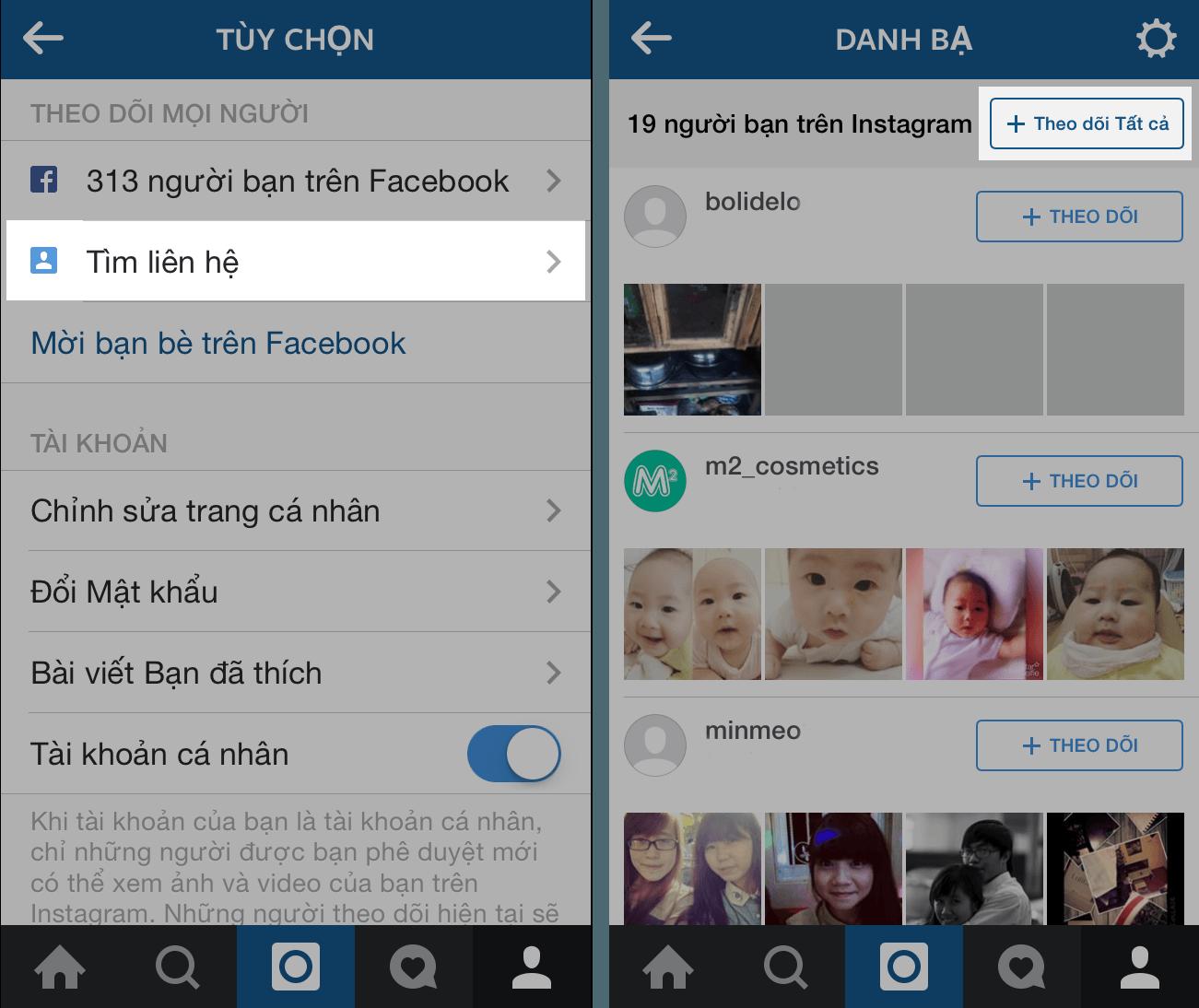 Bước 2 tiếp cận khách hàng trên instagram qua danh bạ điện thoại