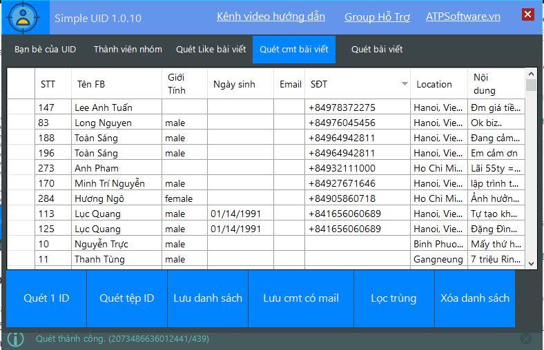 loc danh sach nguoi comment bai viet tren page simple uid - Hướng dẫn sử dụng Simple UID để phân tích quảng cáo Facebook đối thủ