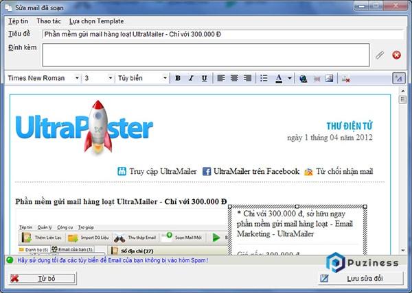 Phần mềm gửi email marketing miễn phí UltraMailer