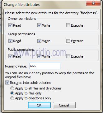 đổi phân quyền đối với file