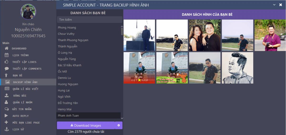 Backup hình ảnh bạn bè Simple Account - Hỏi - đáp về tư duy ứng dụng phần mềm Simple Account