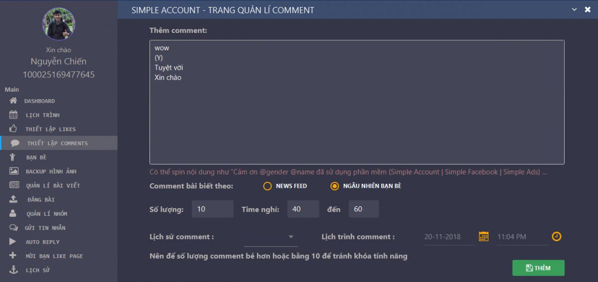 Thiết lập comment trên Simple Account - Hỏi - đáp về tư duy ứng dụng phần mềm Simple Account