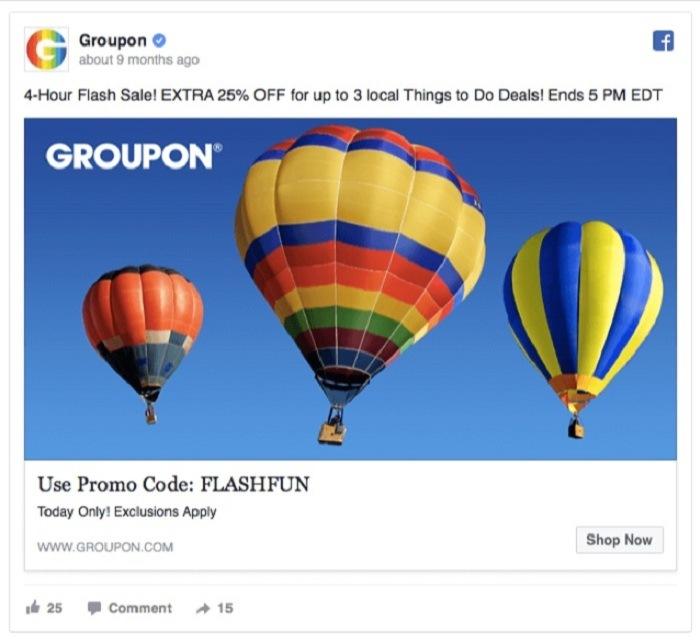 groupon facebook ad balloon - 12 ý tưởng sáng tạo nội dung để người dung quan tâm nhiều hơn đến quảng cáo trên Facebook của bạn
