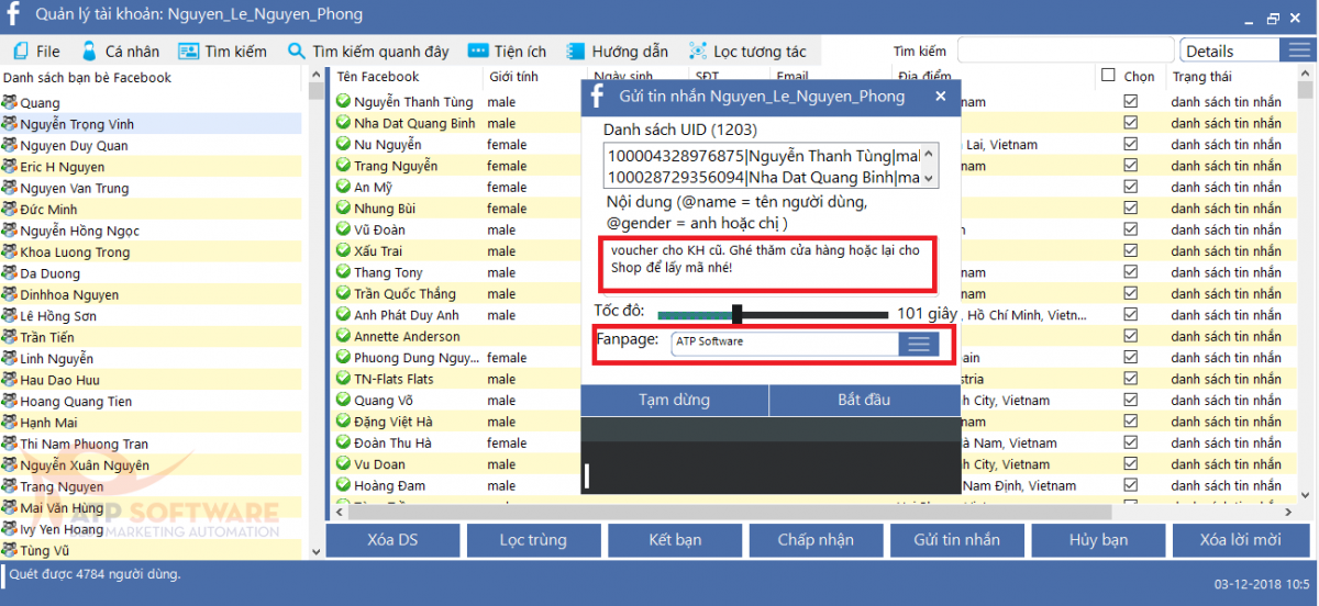 gui tin nhan page - Gợi ý 5 cách thức quảng cáo khuyến mãi hiệu quả cao trên Facebook bằng phần mềm ATP