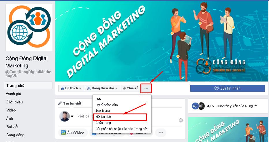 mời bạn bè like page - Case Study kéo 800 like Fanpage trong 15p Cộng đồng Digital Marketing (5000 trong lâu dài)