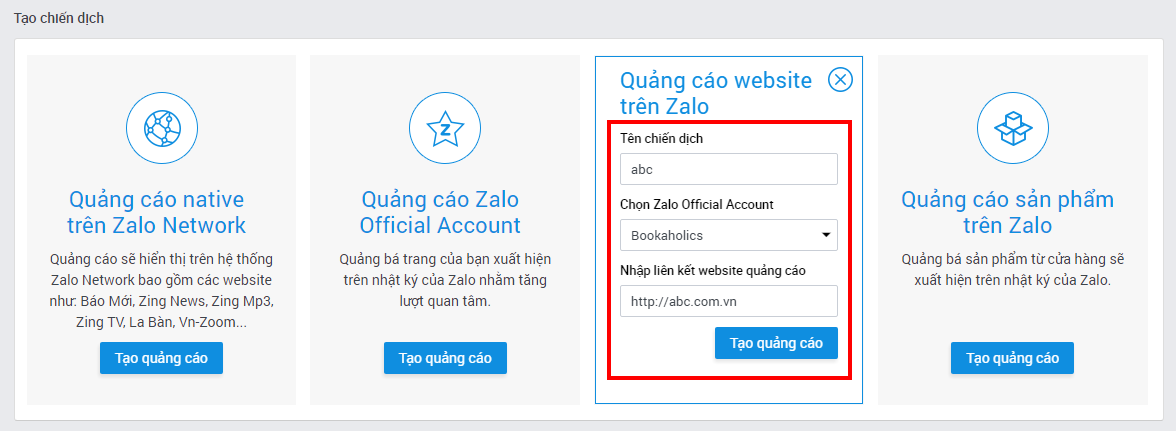 6bafe04e 39ba 4140 97f6 62caa2631f17 - Hướng dẫn chạy quảng cáo website trên nền tảng Zalo