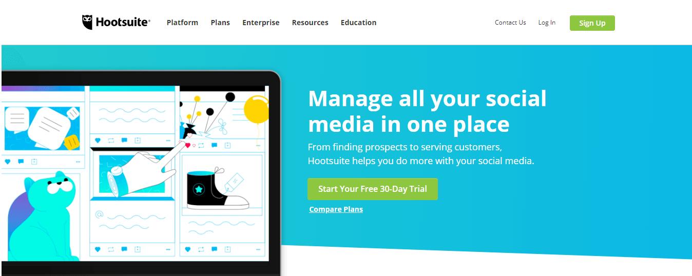 hootsuit - 13 Công cụ tiếp thị nội dung cần thiết nhất để sử dụng trong năm 2019
