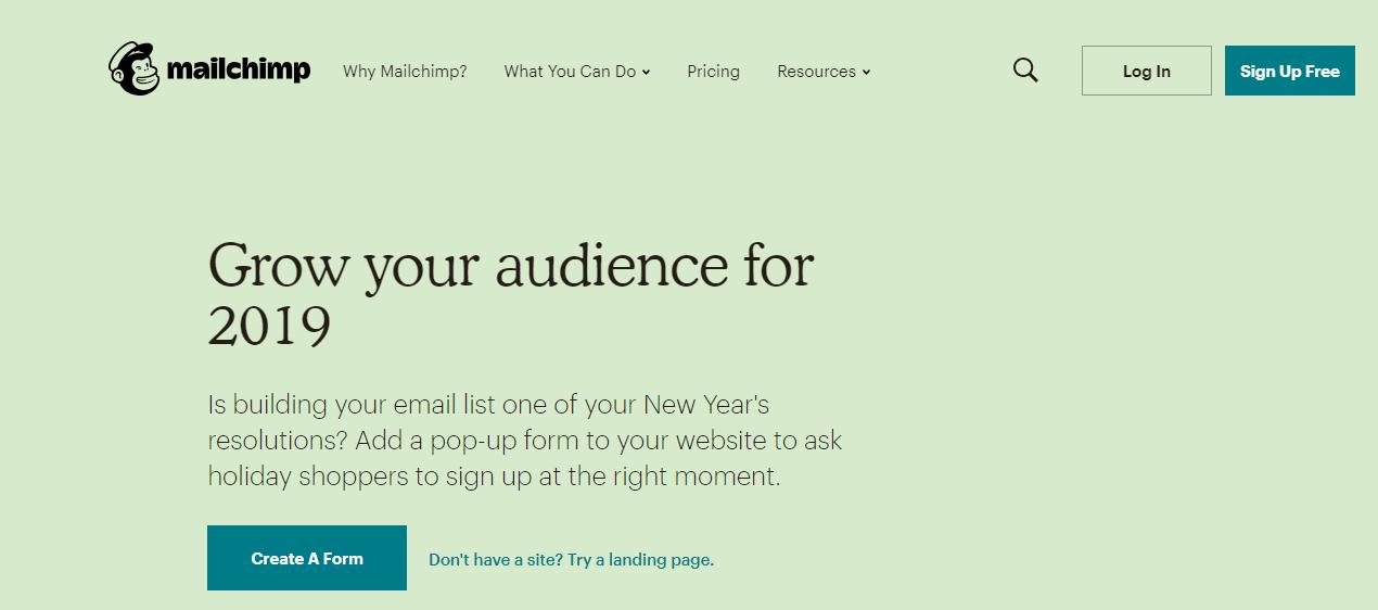 mailchimp - 13 Công cụ tiếp thị nội dung cần thiết nhất để sử dụng trong năm 2019
